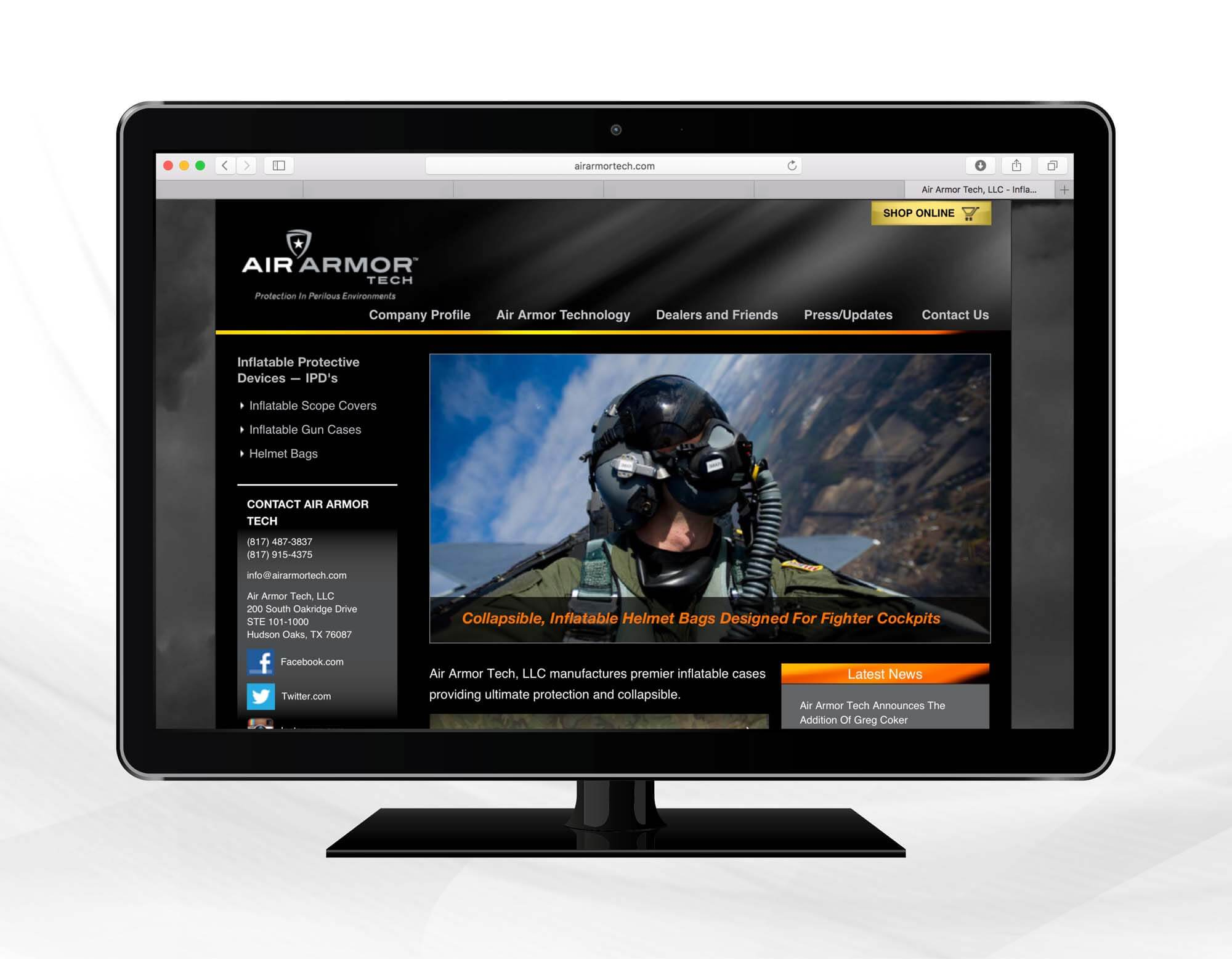 Air Armor Tech Website Design and Programming
